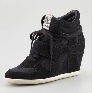 Ash black suede wedge sneakers